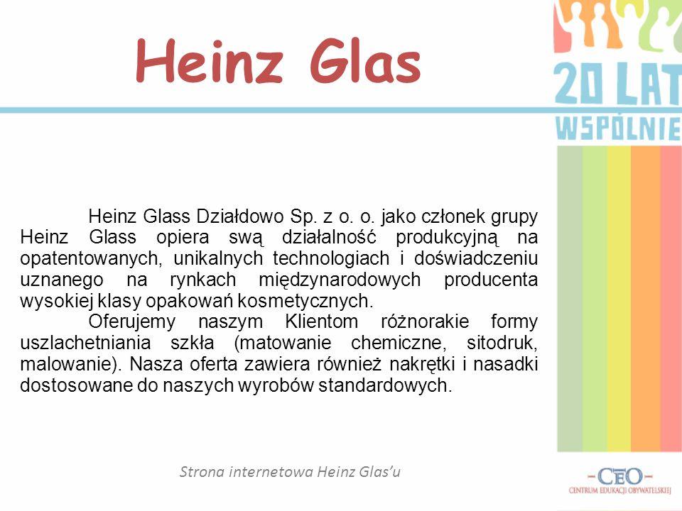 Strona internetowa Heinz Glasu Heinz Glas Heinz Glass Działdowo Sp. z o. o. jako członek grupy Heinz Glass opiera swą działalność produkcyjną na opate