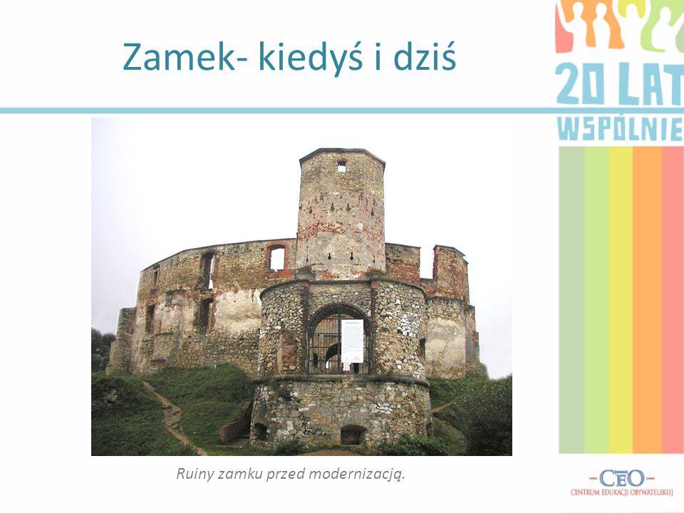 Zamek- kiedyś i dziś Ruiny zamku przed modernizacją.