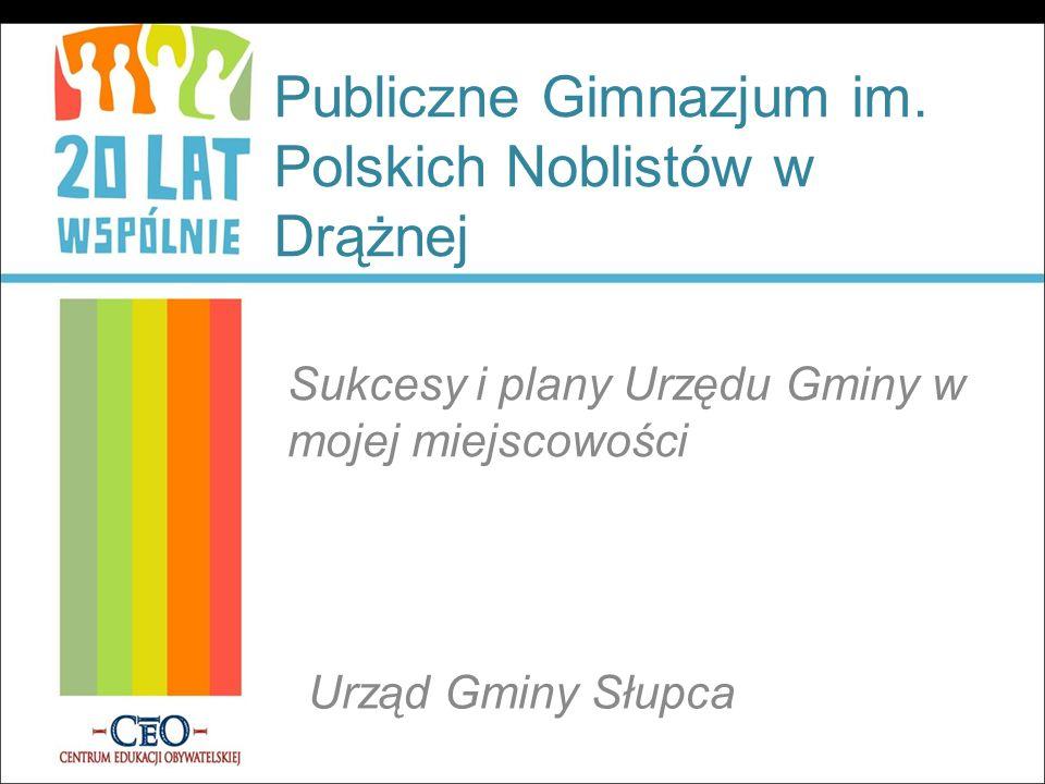 Publiczne Gimnazjum im. Polskich Noblistów w Drążnej Sukcesy i plany Urzędu Gminy w mojej miejscowości Urząd Gminy Słupca