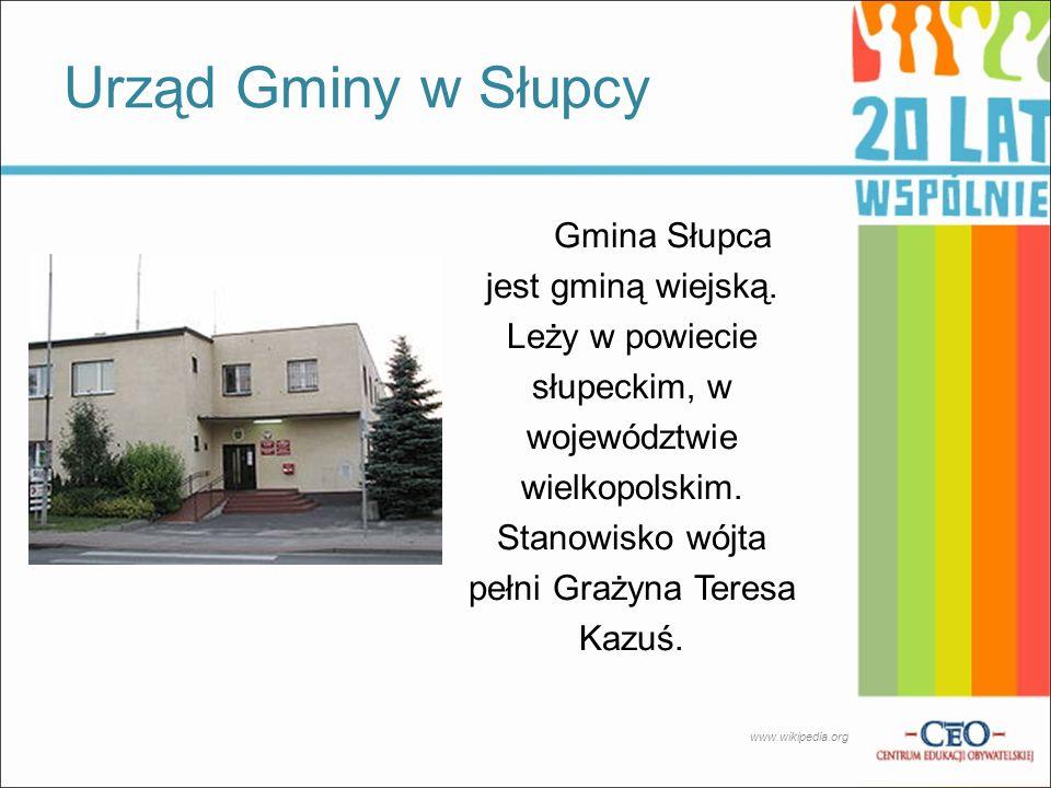 Gmina Słupca jest gminą wiejską. Leży w powiecie słupeckim, w województwie wielkopolskim. Stanowisko wójta pełni Grażyna Teresa Kazuś. Urząd Gminy w S