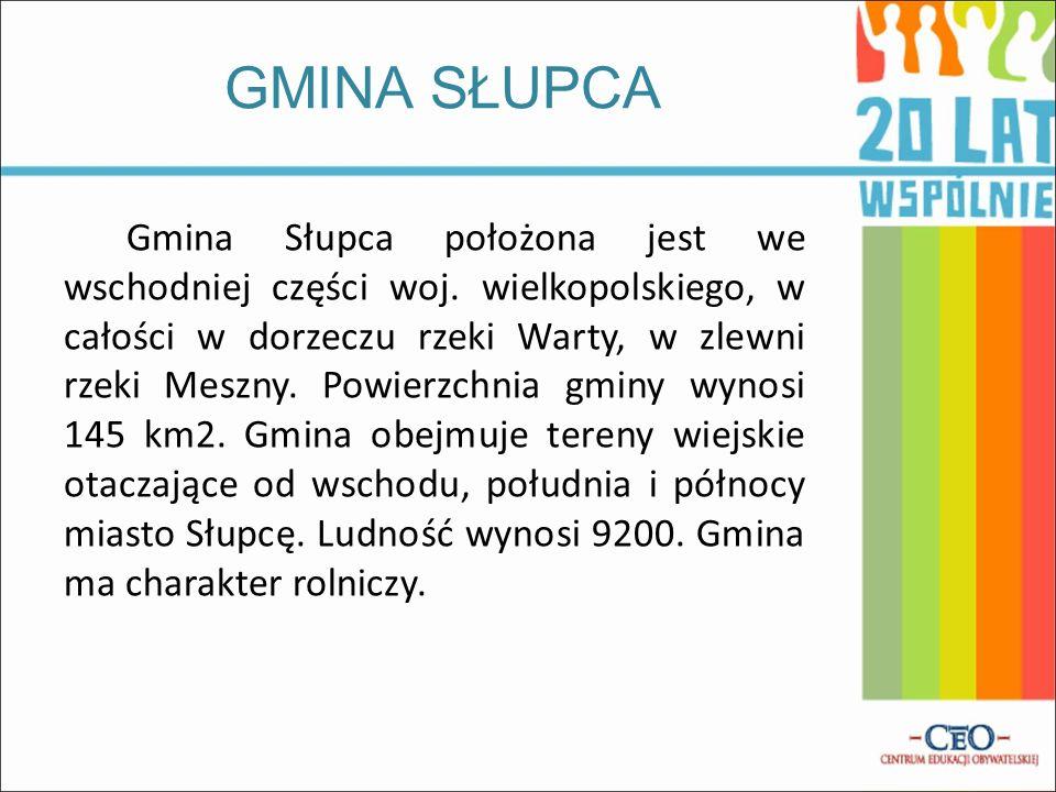 Gmina Słupca położona jest we wschodniej części woj. wielkopolskiego, w całości w dorzeczu rzeki Warty, w zlewni rzeki Meszny. Powierzchnia gminy wyno