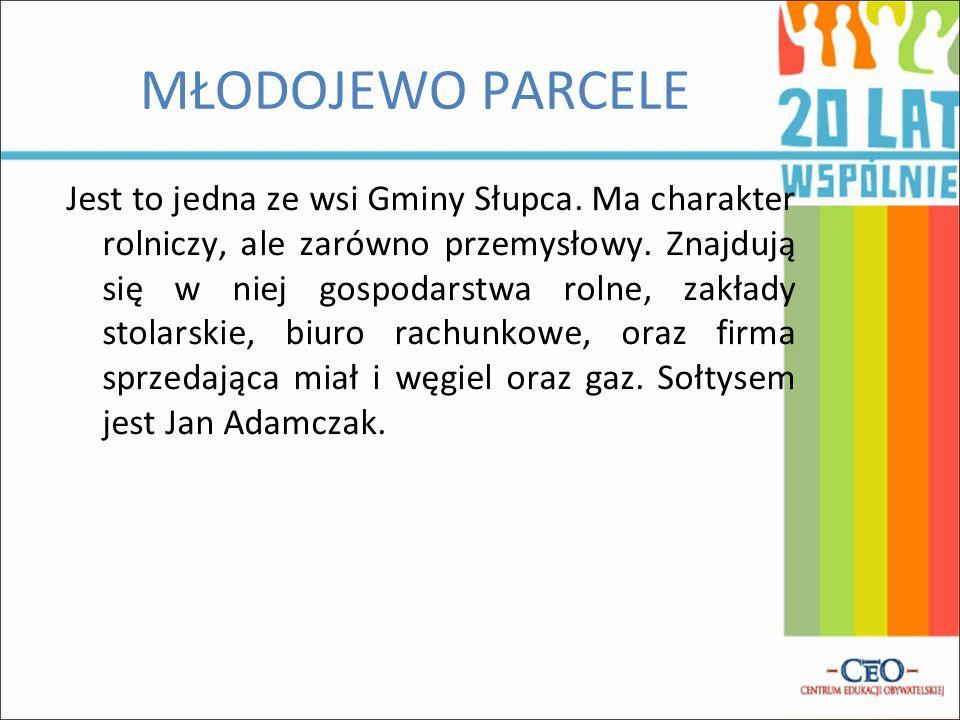 MŁODOJEWO PARCELE Jest to jedna ze wsi Gminy Słupca. Ma charakter rolniczy, ale zarówno przemysłowy. Znajdują się w niej gospodarstwa rolne, zakłady s