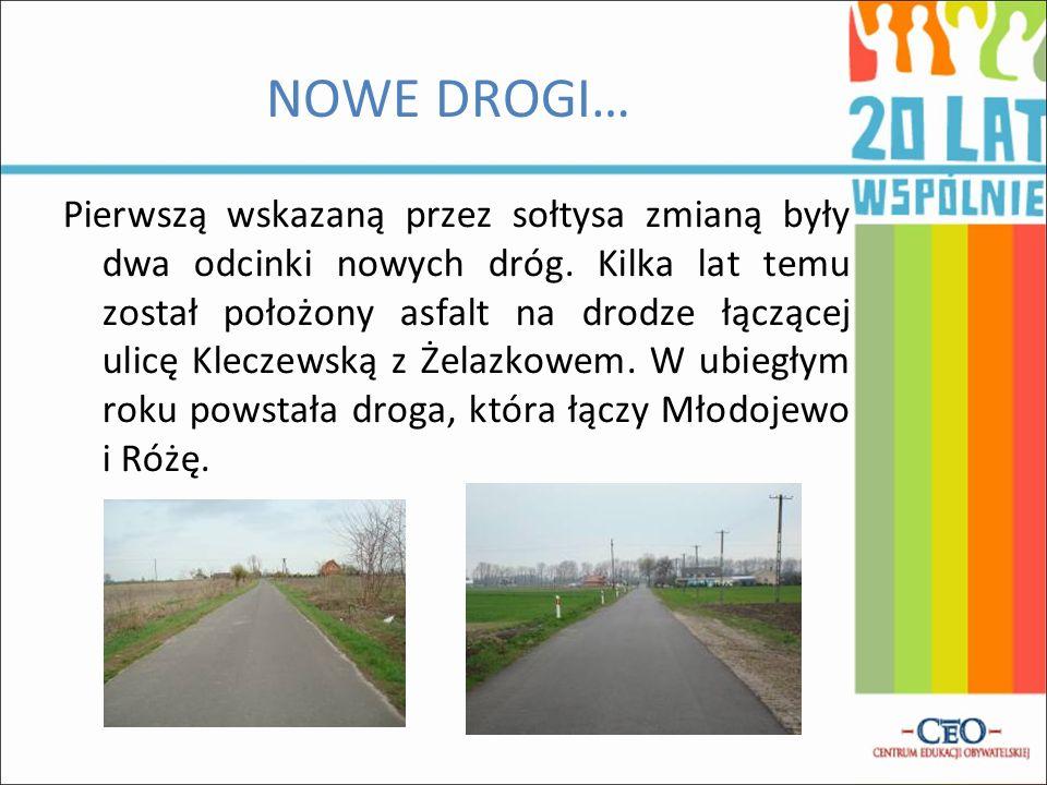 NOWE DROGI… Pierwszą wskazaną przez sołtysa zmianą były dwa odcinki nowych dróg. Kilka lat temu został położony asfalt na drodze łączącej ulicę Klecze