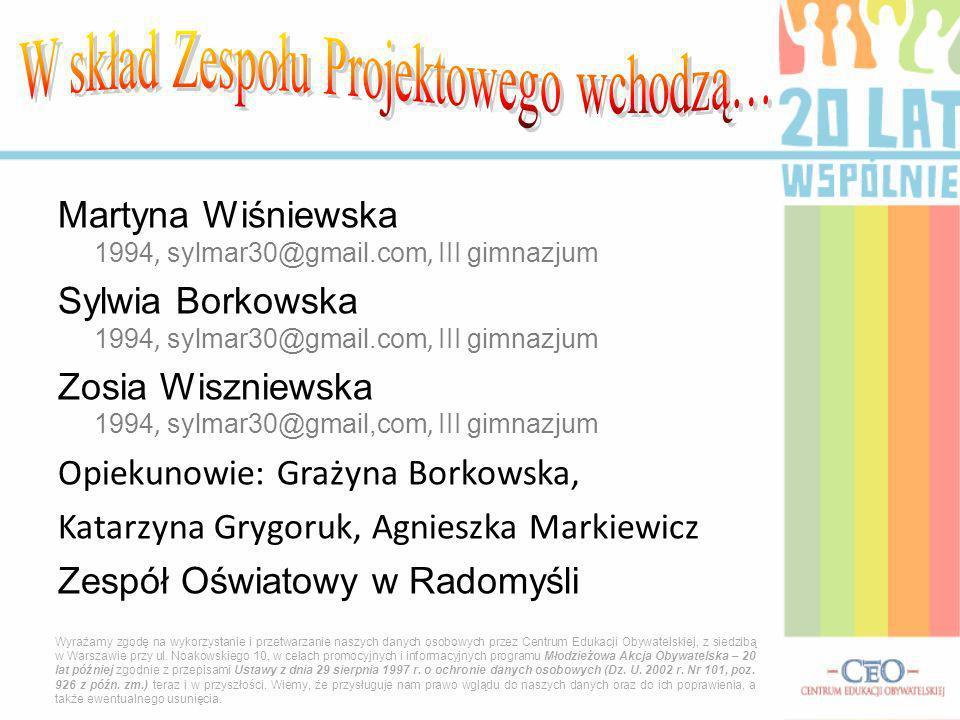 Martyna Wiśniewska 1994, sylmar30@gmail.com, I II gimnazjum Sylwia Borkowska 1994, sylmar30@gmail.com, I II gimnazjum Zosia Wiszniewska 1994, sylmar30