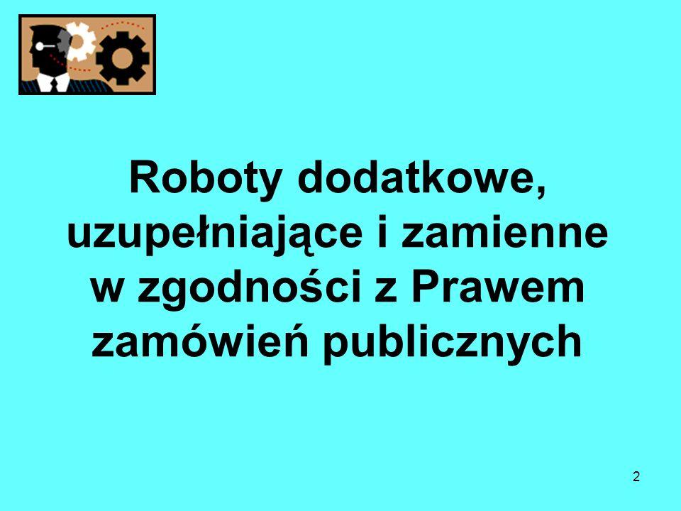 2 Roboty dodatkowe, uzupełniające i zamienne w zgodności z Prawem zamówień publicznych