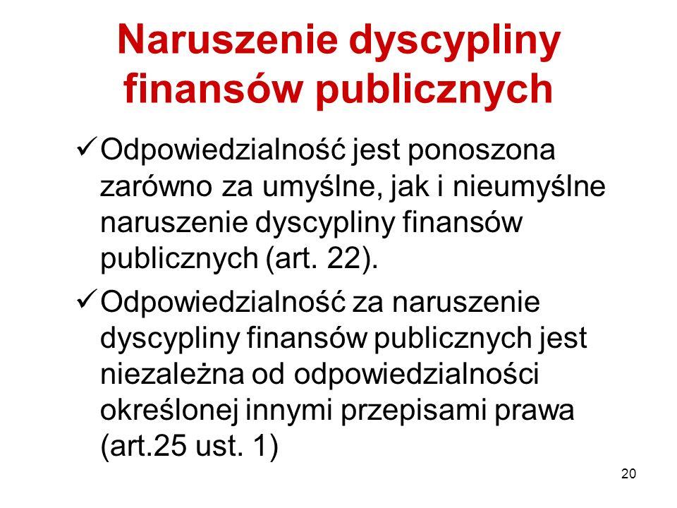 20 Naruszenie dyscypliny finansów publicznych Odpowiedzialność jest ponoszona zarówno za umyślne, jak i nieumyślne naruszenie dyscypliny finansów publ