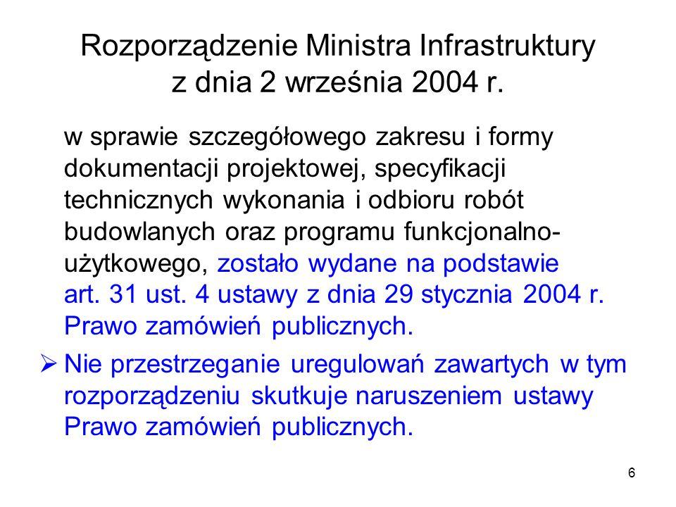6 Rozporządzenie Ministra Infrastruktury z dnia 2 września 2004 r. w sprawie szczegółowego zakresu i formy dokumentacji projektowej, specyfikacji tech