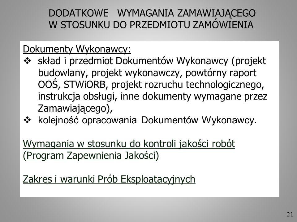 21 DODATKOWE WYMAGANIA ZAMAWIAJĄCEGO W STOSUNKU DO PRZEDMIOTU ZAMÓWIENIA Dokumenty Wykonawcy: skład i przedmiot Dokumentów Wykonawcy (projekt budowlan