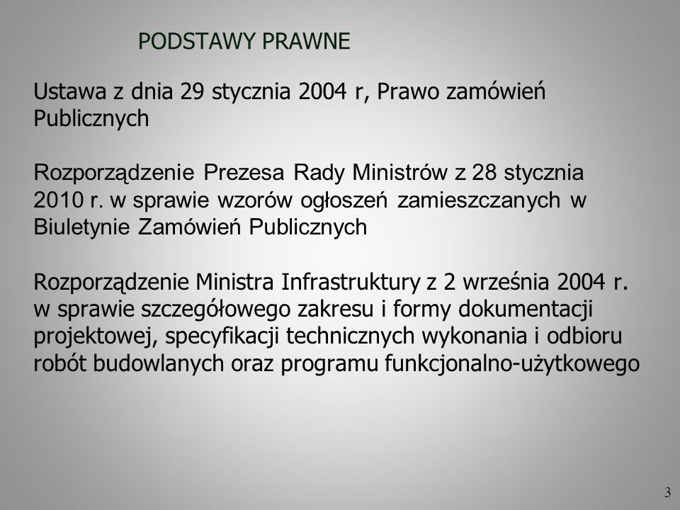 3 PODSTAWY PRAWNE Ustawa z dnia 29 stycznia 2004 r, Prawo zamówień Publicznych Rozporządzenie Prezesa Rady Ministrów z 28 stycznia 2010 r. w sprawie w