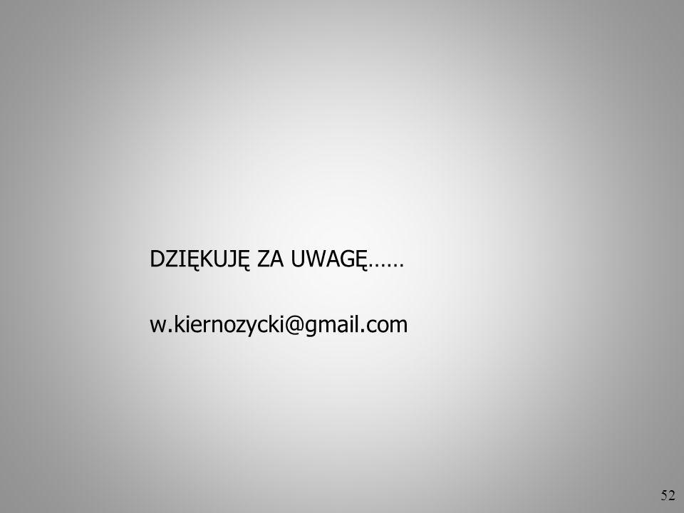 52 DZIĘKUJĘ ZA UWAGĘ…… w.kiernozycki@gmail.com