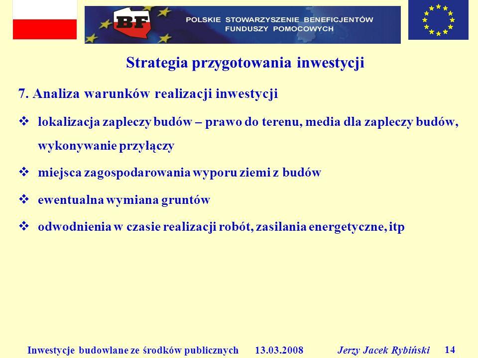 Inwestycje budowlane ze środków publicznych 13.03.2008 Jerzy Jacek Rybiński 14 Strategia przygotowania inwestycji 7. Analiza warunków realizacji inwes