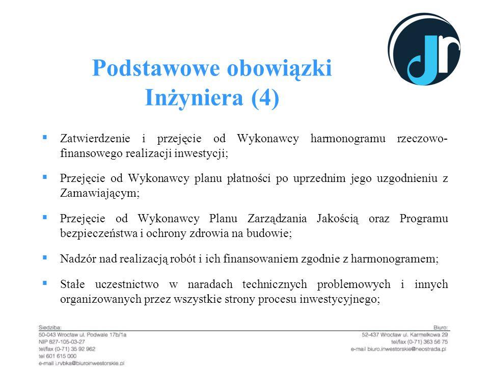Podstawowe obowiązki Inżyniera (4) Zatwierdzenie i przejęcie od Wykonawcy harmonogramu rzeczowo- finansowego realizacji inwestycji; Przejęcie od Wykon
