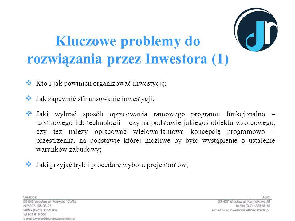 Kluczowe problemy do rozwiązania przez Inwestora (1) Kto i jak powinien organizować inwestycję; Jak zapewnić sfinansowanie inwestycji; Jaki wybrać spo