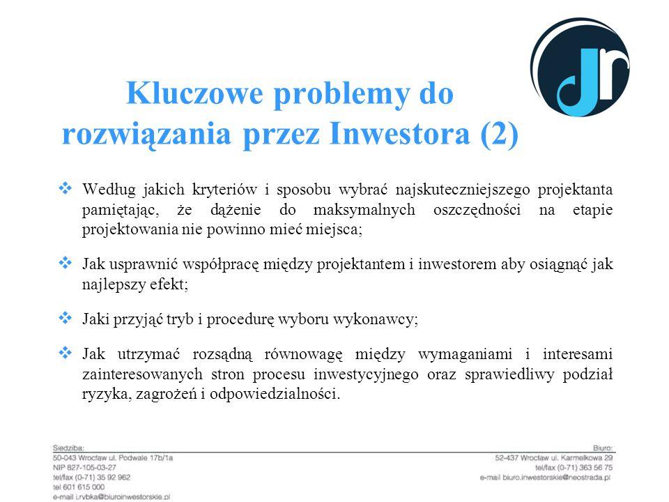 Kluczowe problemy do rozwiązania przez Inwestora (2) Według jakich kryteriów i sposobu wybrać najskuteczniejszego projektanta pamiętając, że dążenie d