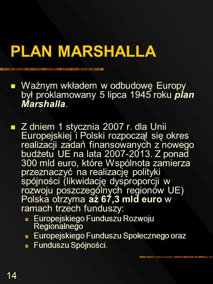 14 PLAN MARSHALLA Ważnym wkładem w odbudowę Europy był proklamowany 5 lipca 1945 roku plan Marshalla.