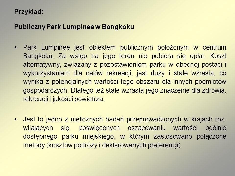 Przykład: Publiczny Park Lumpinee w Bangkoku Park Lumpinee jest obiektem publicznym położonym w centrum Bangkoku. Za wstęp na jego teren nie pobiera s