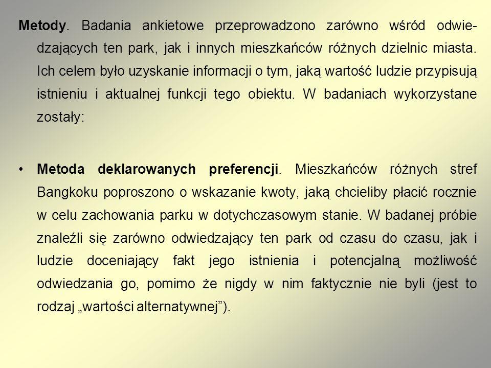 Metody. Badania ankietowe przeprowadzono zarówno wśród odwie dzających ten park, jak i innych mieszkańców różnych dzielnic miasta. Ich celem było uzy