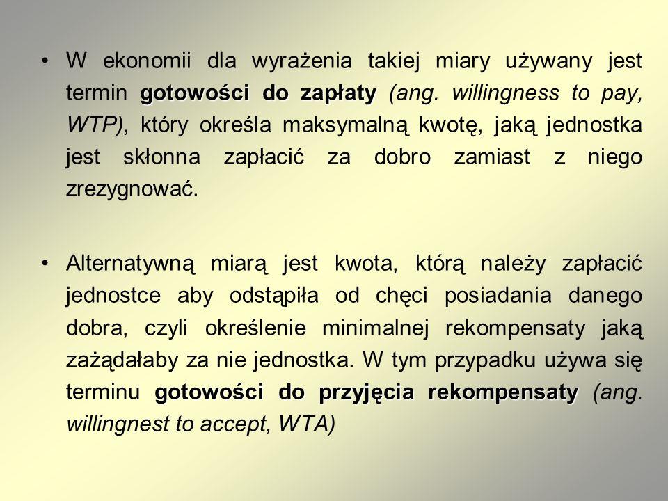 gotowości do zapłatyW ekonomii dla wyrażenia takiej miary używany jest termin gotowości do zapłaty (ang. willingness to pay, WTP), który określa maksy