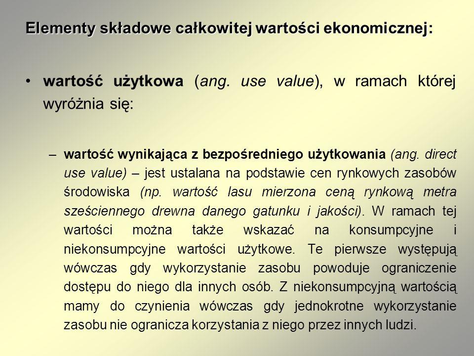 Elementy składowe całkowitej wartości ekonomicznej: wartość użytkowa (ang. use value), w ramach której wyróżnia się: –wartość wynikająca z bezpośredni