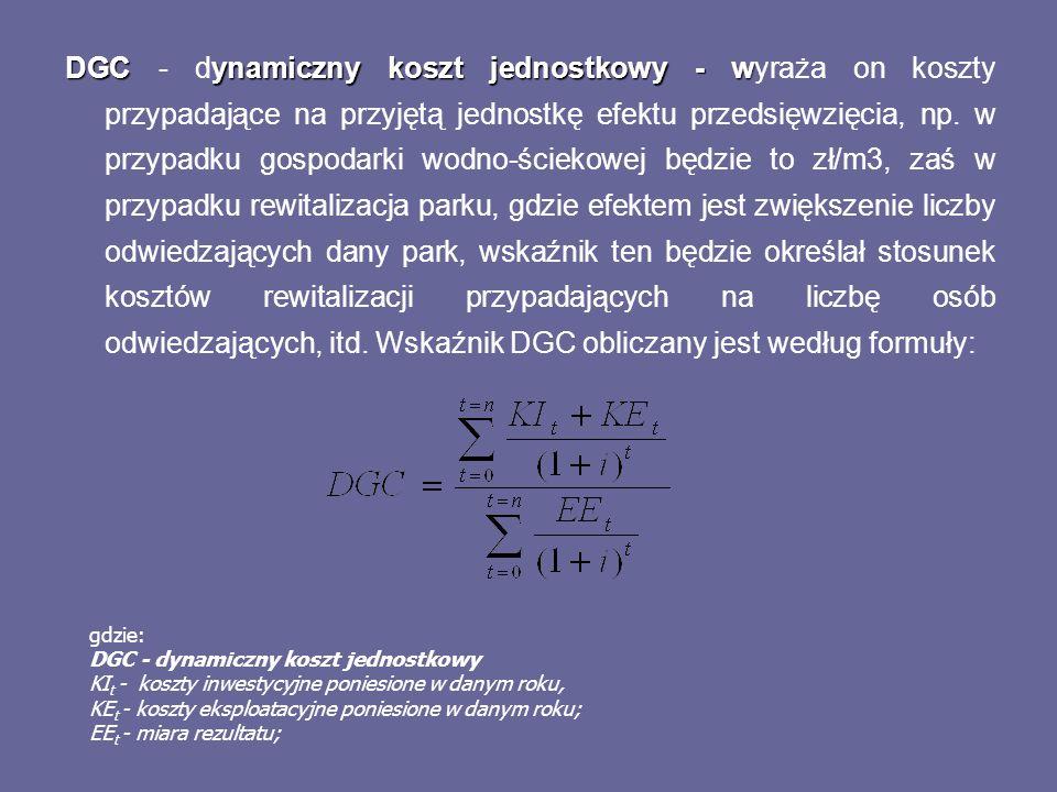 DGCynamiczny koszt jednostkowy - w DGC - dynamiczny koszt jednostkowy - wyraża on koszty przypadające na przyjętą jednostkę efektu przedsięwzięcia, np