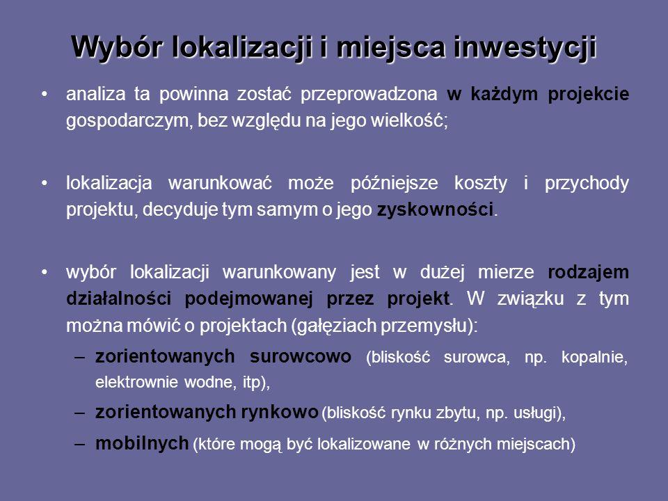 Wybór lokalizacji i miejsca inwestycji analiza ta powinna zostać przeprowadzona w każdym projekcie gospodarczym, bez względu na jego wielkość; lokaliz