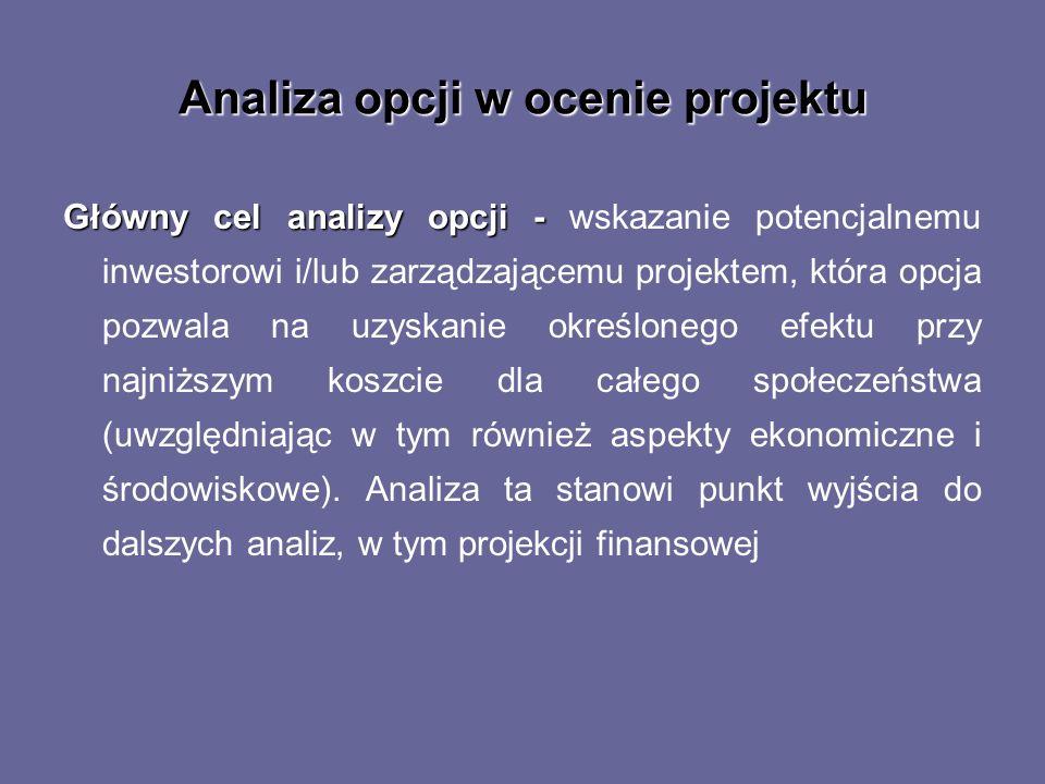 Analiza opcji w ocenie projektu Główny cel analizy opcji - Główny cel analizy opcji - wskazanie potencjalnemu inwestorowi i/lub zarządzającemu projekt