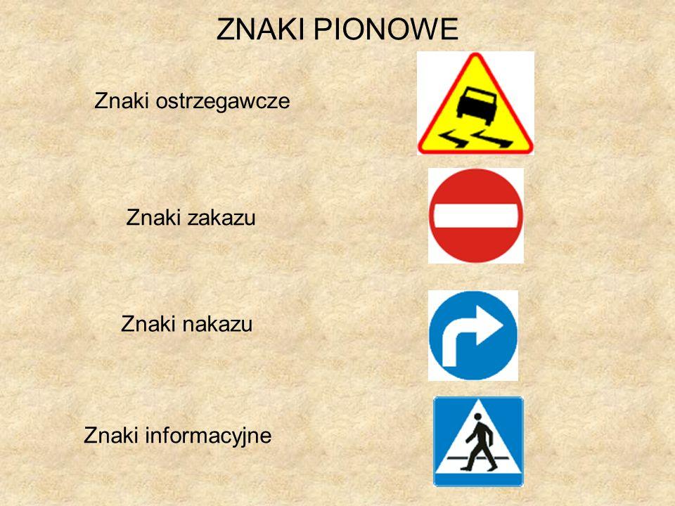 ZNAKI PIONOWE Znaki ostrzegawcze Znaki zakazu Znaki nakazu Znaki informacyjne