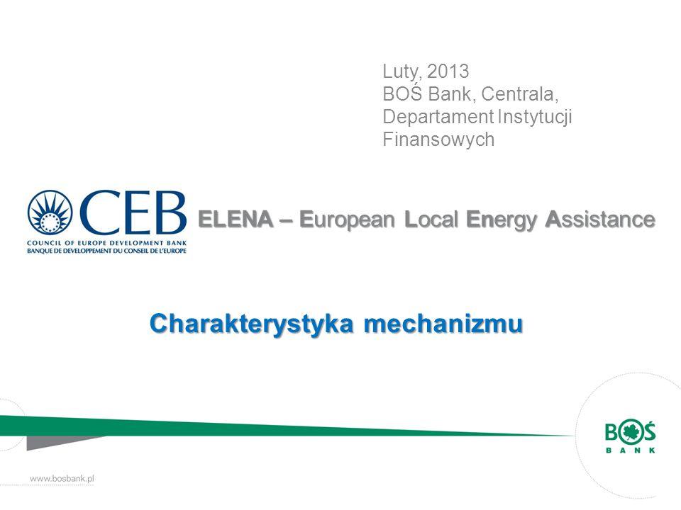 CEB ELENA - Instrument pomocy technicznej Mechanizm stworzony przez Bank Rozwoju Rady Europy we współpracy z Komisją Europejską Dostępne środki – 3 mln EURO ELENA – instrument pomocy technicznej dostarczający wsparcia finansowego na rzecz planowanych inwestycji publicznych, które będą realizowane w obszarze poprawy efektywności energetycznej i rozwoju odnawialnych źródeł energii.