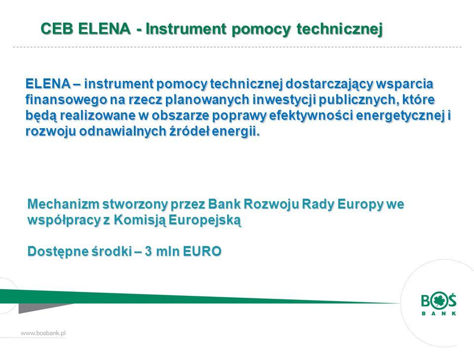 CEB ELENA – beneficjenci instrumentu jednostki samorządu terytorialnego, jednostki samorządu terytorialnego, przedsiębiorstwa komunalne, przedsiębiorstwa komunalne, podmioty prywatne w ograniczonym zakresie podmioty prywatne w ograniczonym zakresie Bank pośredniczący opracowuje program redystrybucji środków, w ramach mechanizmu ELENA na rzecz beneficjentów planujących realizację inwestycji dot.