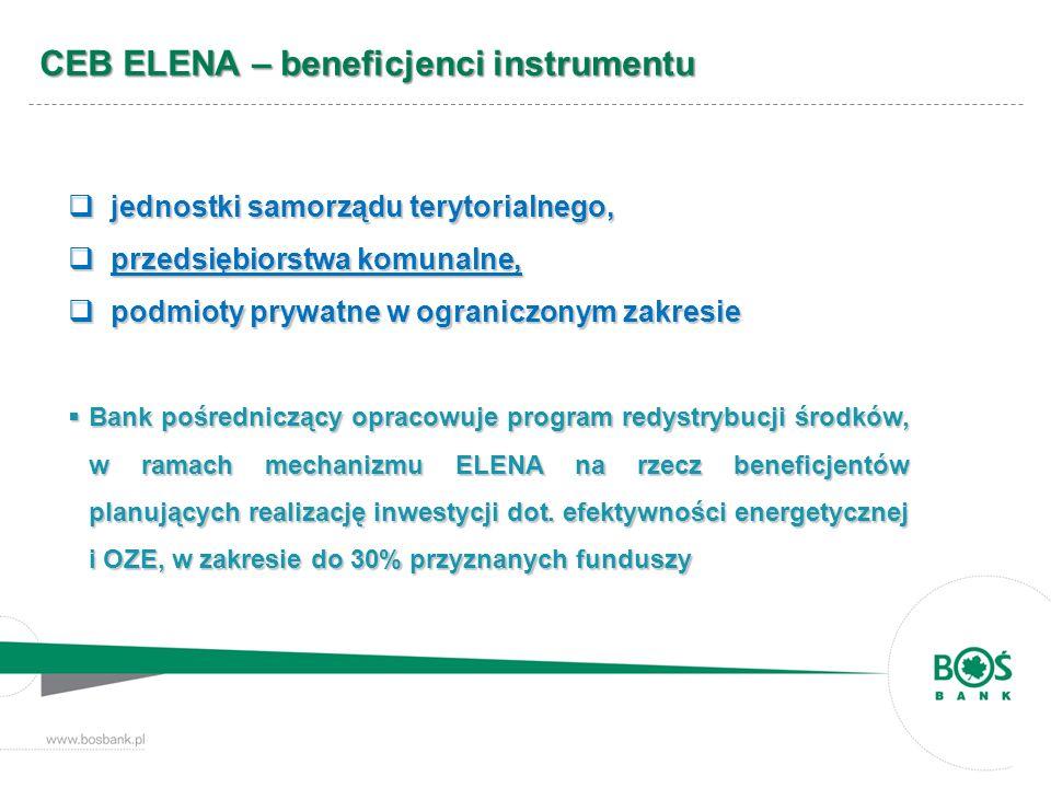 CEB ELENA – beneficjenci instrumentu jednostki samorządu terytorialnego, jednostki samorządu terytorialnego, przedsiębiorstwa komunalne, przedsiębiors