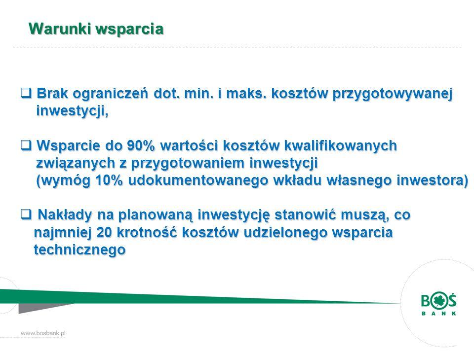 Warunki wsparcia Brak ograniczeń dot. min. i maks. kosztów przygotowywanej inwestycji, Brak ograniczeń dot. min. i maks. kosztów przygotowywanej inwes