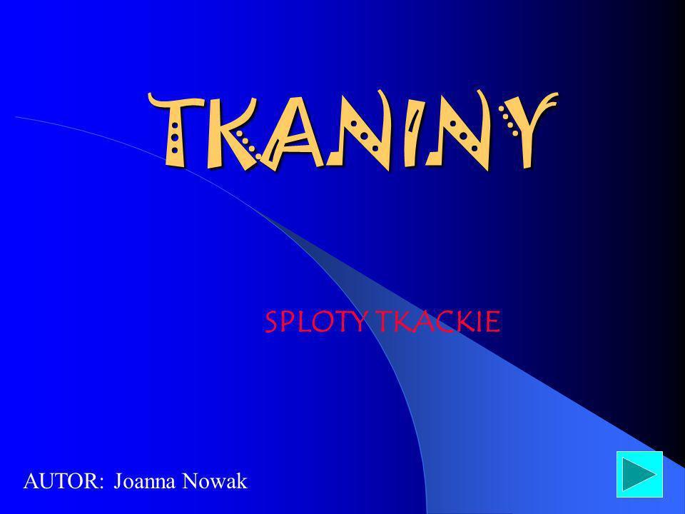 TKANINY SPLOTY TKACKIE AUTOR: Joanna Nowak