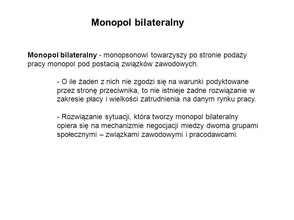 Monopol bilateralny - monopsonowi towarzyszy po stronie podaży pracy monopol pod postacią związków zawodowych.