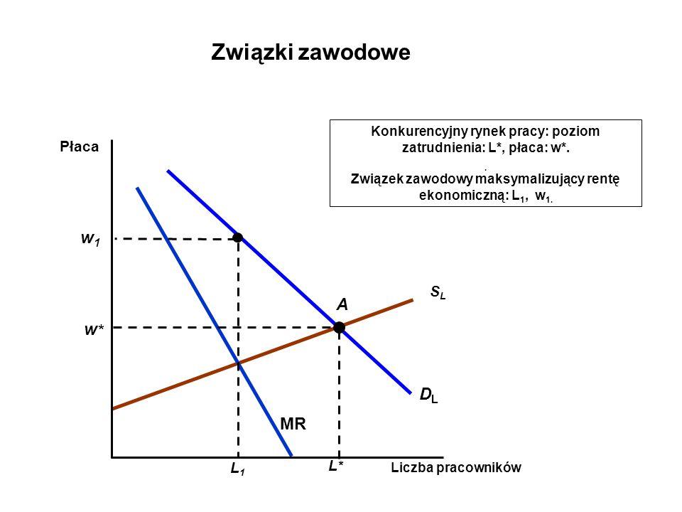 SLSL DLDL Konkurencyjny rynek pracy: poziom zatrudnienia: L*, płaca: w*..