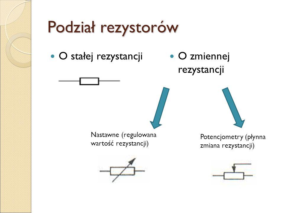 Najważniejsze parametry rezystora: Rezystancja znamionowa – ( ), (k ), (G ) Tolerancja rezystancji (dokładność) – (%) Moc znamionowa – największa dopu