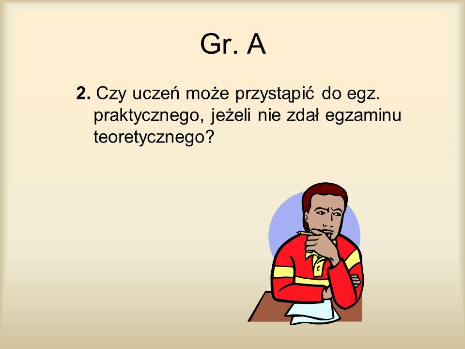 Gr. A 2. Czy uczeń może przystąpić do egz. praktycznego, jeżeli nie zdał egzaminu teoretycznego?