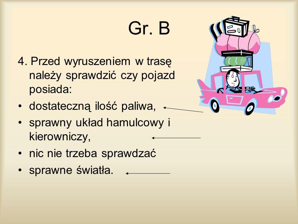 Gr. B 4. Przed wyruszeniem w trasę należy sprawdzić czy pojazd posiada: dostateczną ilość paliwa, sprawny układ hamulcowy i kierowniczy, nic nie trzeb