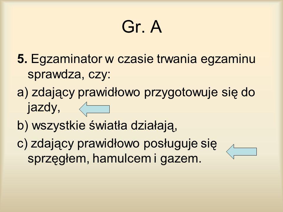 Gr. A 5. Egzaminator w czasie trwania egzaminu sprawdza, czy: a) zdający prawidłowo przygotowuje się do jazdy, b) wszystkie światła działają, c) zdają