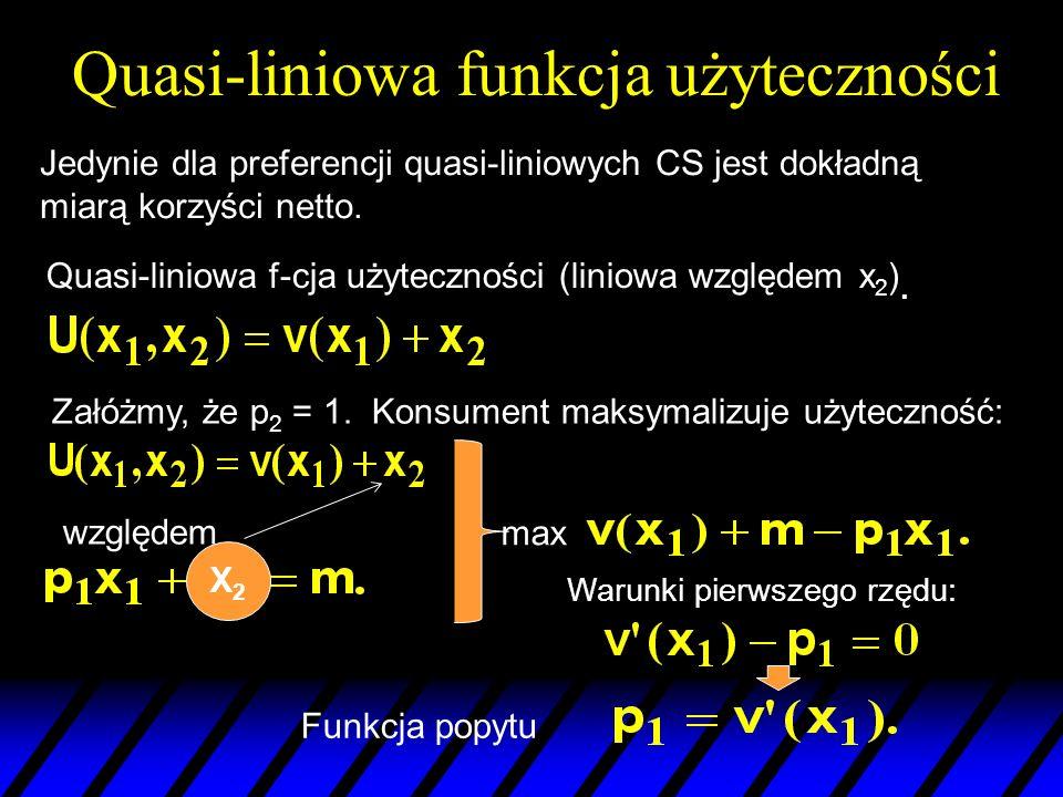 Quasi-liniowa funkcja użyteczności Quasi-liniowa f-cja użyteczności (liniowa względem x 2 ). Załóżmy, że p 2 = 1. Konsument maksymalizuje użyteczność: