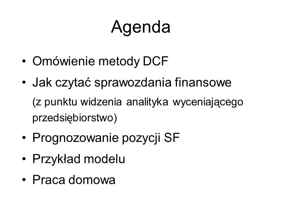 Agenda Omówienie metody DCF Jak czytać sprawozdania finansowe (z punktu widzenia analityka wyceniającego przedsiębiorstwo) Prognozowanie pozycji SF Pr