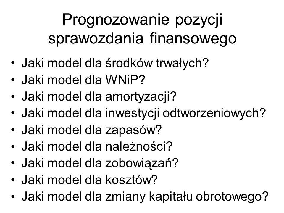 Prognozowanie pozycji sprawozdania finansowego Jaki model dla środków trwałych? Jaki model dla WNiP? Jaki model dla amortyzacji? Jaki model dla inwest