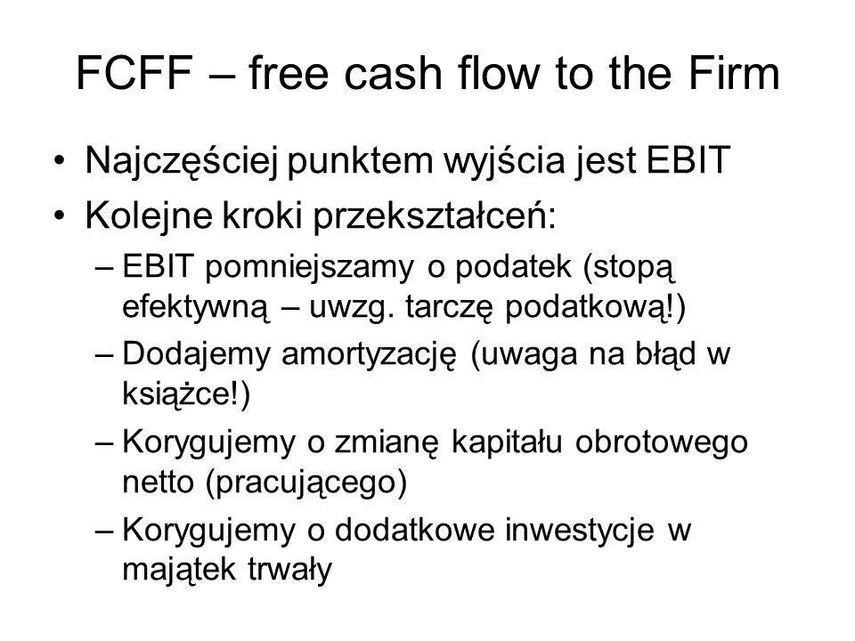 FCFF – free cash flow to the Firm Najczęściej punktem wyjścia jest EBIT Kolejne kroki przekształceń: –EBIT pomniejszamy o podatek (stopą efektywną – u
