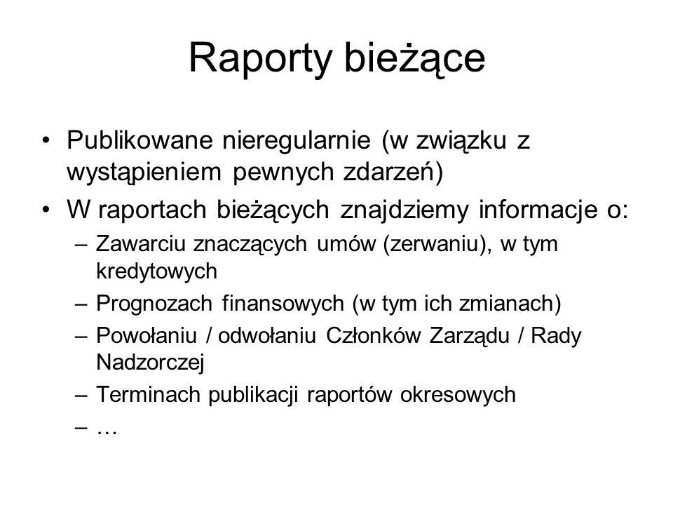 Raporty bieżące Publikowane nieregularnie (w związku z wystąpieniem pewnych zdarzeń) W raportach bieżących znajdziemy informacje o: –Zawarciu znaczący