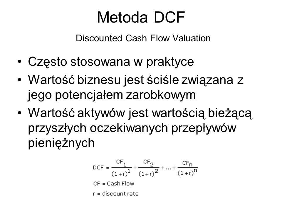 Metoda DCF Odmiany metody: –Equity Cash Flow Stosujemy gdy chcemy wyliczyć rynkową wartość kapitałów własnych przedsiębiorstwa Jako przepływy wykorzystujemy wolne przepływy gotówkowe dla akcjonariuszy Jako stopę procentową wykorzystujemy koszt kapitałów własnych przedsiębiorstwa –Firm Cash Flow Stosujemy gdy chcemy wyliczyć rynkową wartość przedsiębiorstwa Jako przepływy wykorzystujemy wolne przepływy gotówkowe dla przedsiębiorstwa Jako stopę dyskontową wykorzystujemy średni ważony koszt kapitału (WACC) –…–…