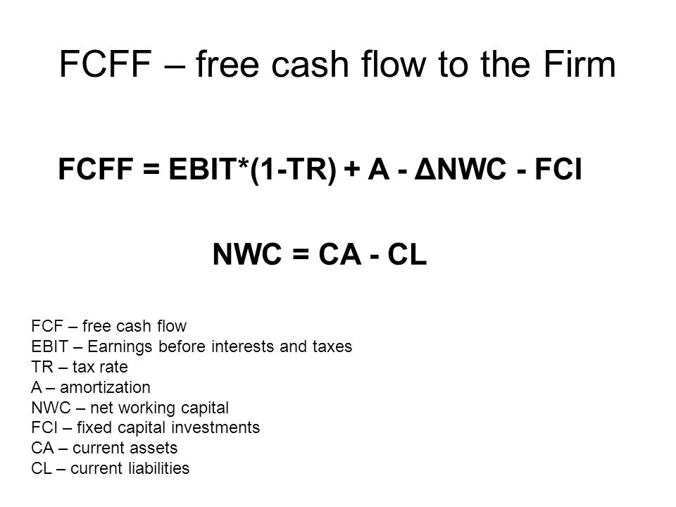 FCFF – free cash flow to the Firm FCFF = EBIT*(1-TR) + A - ΔNWC - FCI NWC = CA - CL FCF – free cash flow EBIT – Earnings before interests and taxes TR