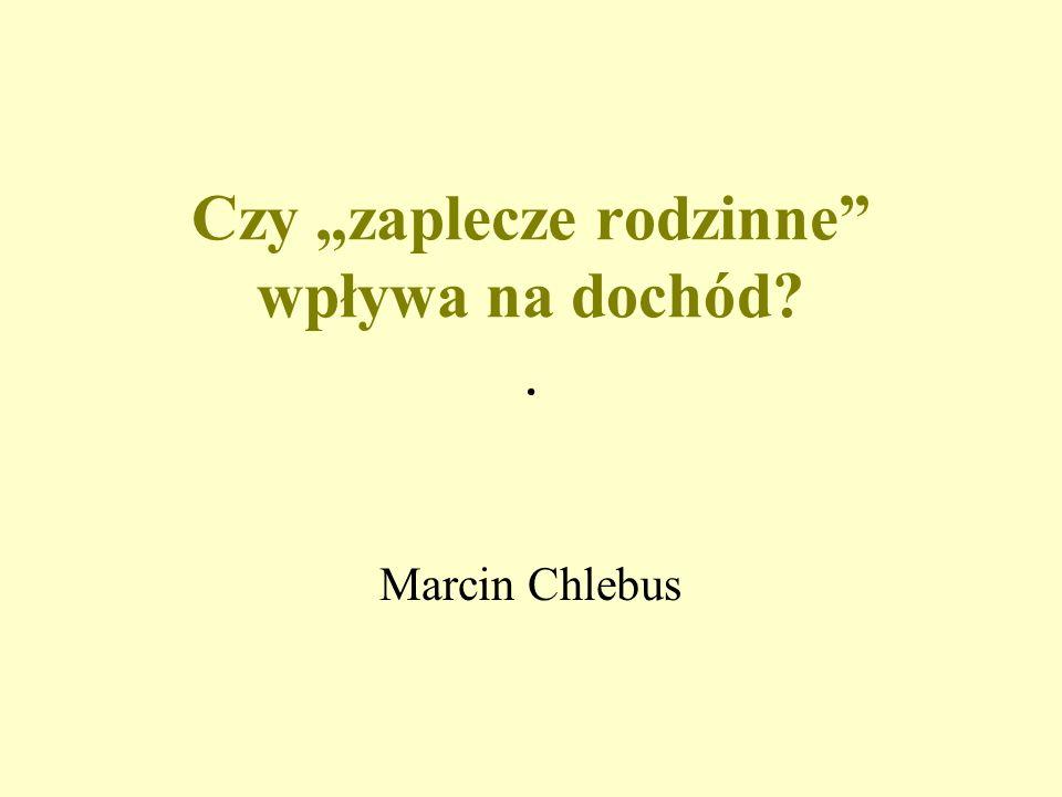 Czy zaplecze rodzinne wpływa na dochód?. Marcin Chlebus