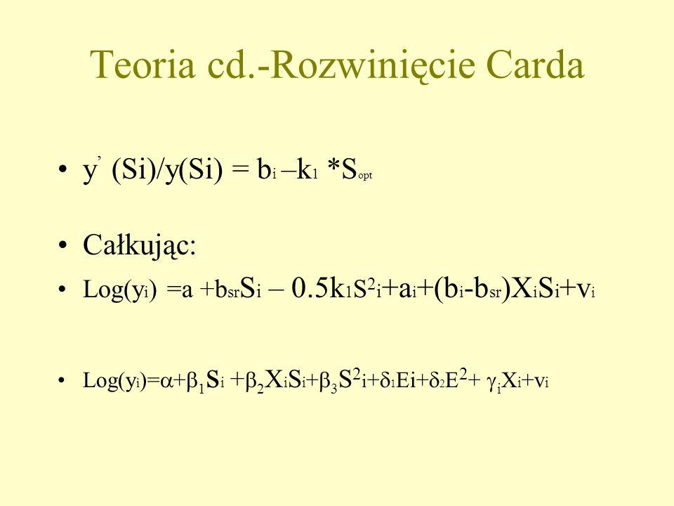 Teoria cd.-Rozwinięcie Carda y (Si)/y(Si) = b i –k 1 *S opt Całkując: Log(y i ) =a +b sr S i – 0.5k 1 S 2 i +a i +(b i -b sr )X i S i +v i Log(y i )= + 1 s i + 2 X i S i + 3 S 2 i + 1 Ei+ 2 E 2 + i X i +v i