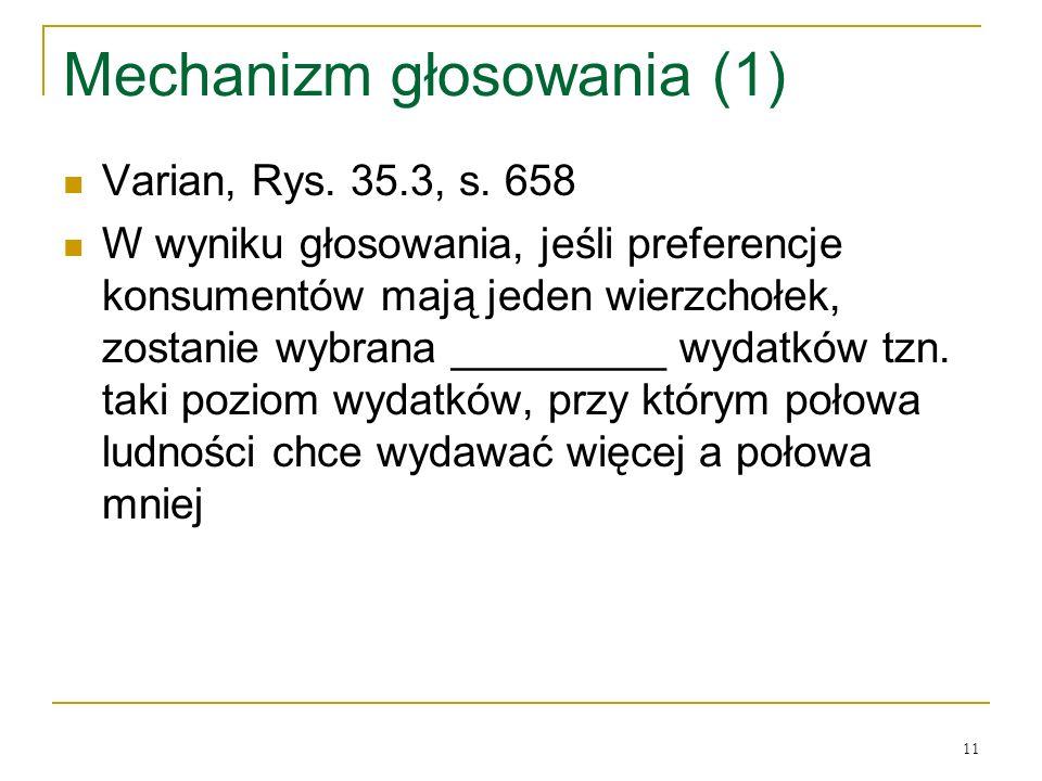 11 Mechanizm głosowania (1) Varian, Rys. 35.3, s. 658 W wyniku głosowania, jeśli preferencje konsumentόw mają jeden wierzchołek, zostanie wybrana ____