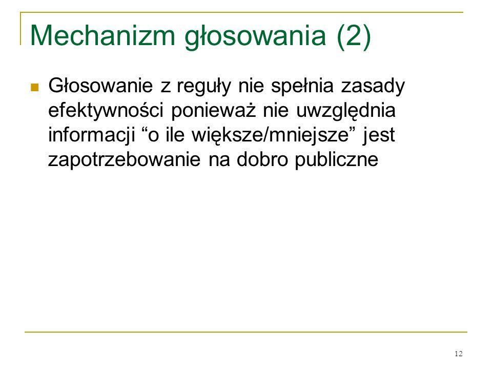 12 Mechanizm głosowania (2) Głosowanie z reguły nie spełnia zasady efektywności ponieważ nie uwzględnia informacji o ile większe/mniejsze jest zapotrzebowanie na dobro publiczne