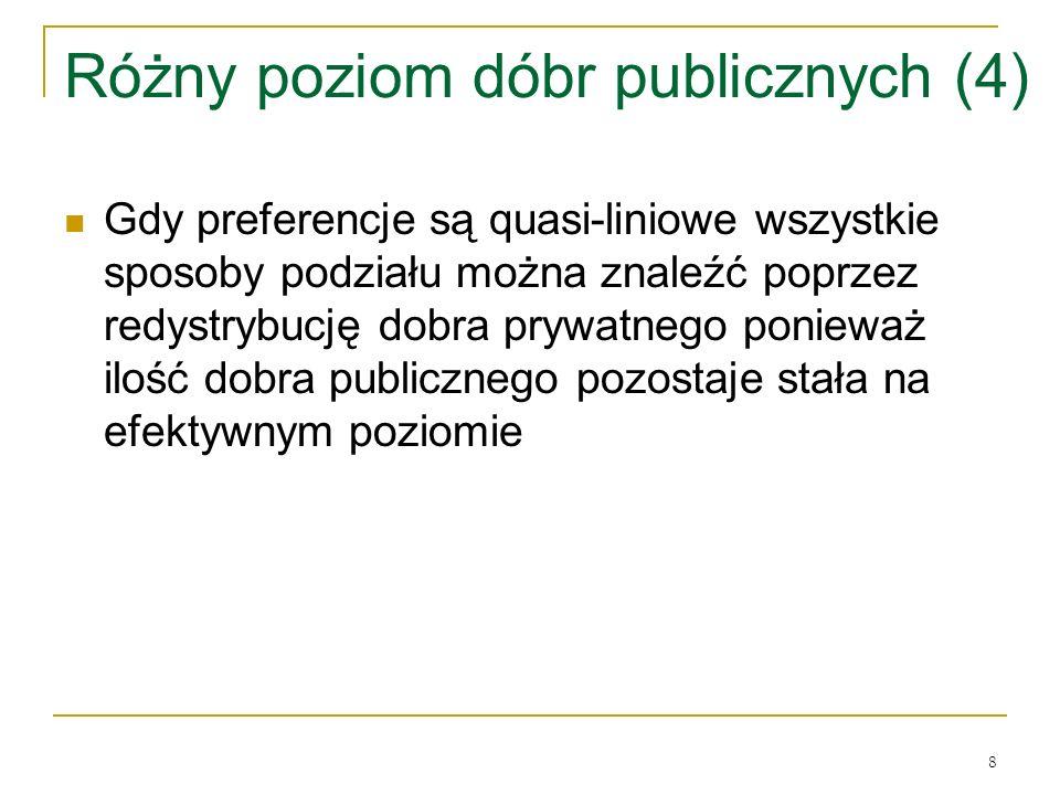 8 Różny poziom dóbr publicznych (4) Gdy preferencje są quasi-liniowe wszystkie sposoby podziału można znaleźć poprzez redystrybucję dobra prywatnego ponieważ ilość dobra publicznego pozostaje stała na efektywnym poziomie